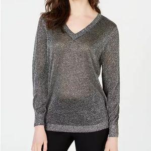 I.N.C Silver Metallic V Neck Sweater